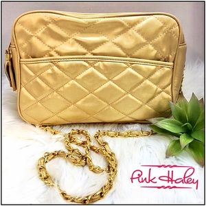 Pink Haley Gold  vegan quilted crossbody bag